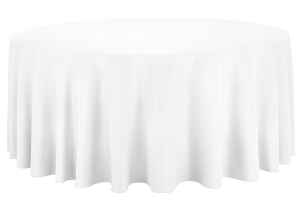 132 in. Round Linen (White, Ivory or Black)