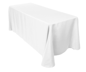 90 in. X 132 in. Linen (White, Ivory, Black, Red or Royal Blue)