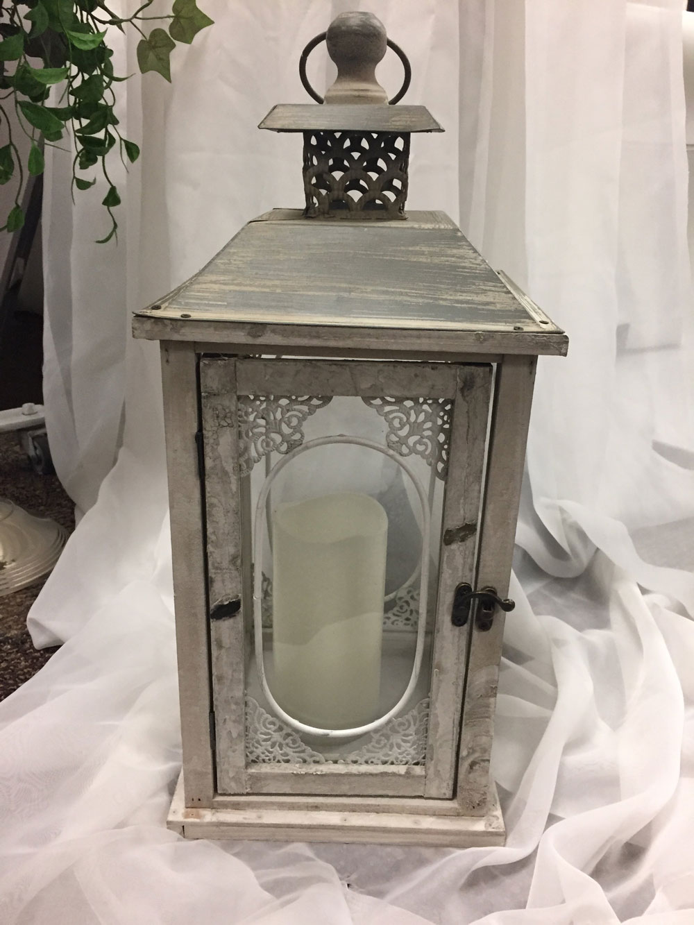 Ivory Wash Ornate Lantern