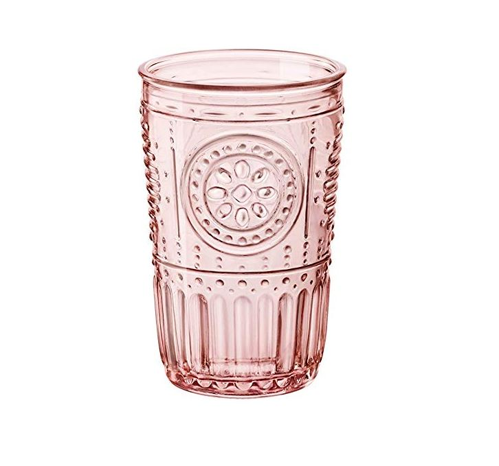 11 oz. Pink Embossed Water Glass