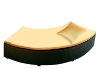 Rattan Backless Curved Couch (Bronze)