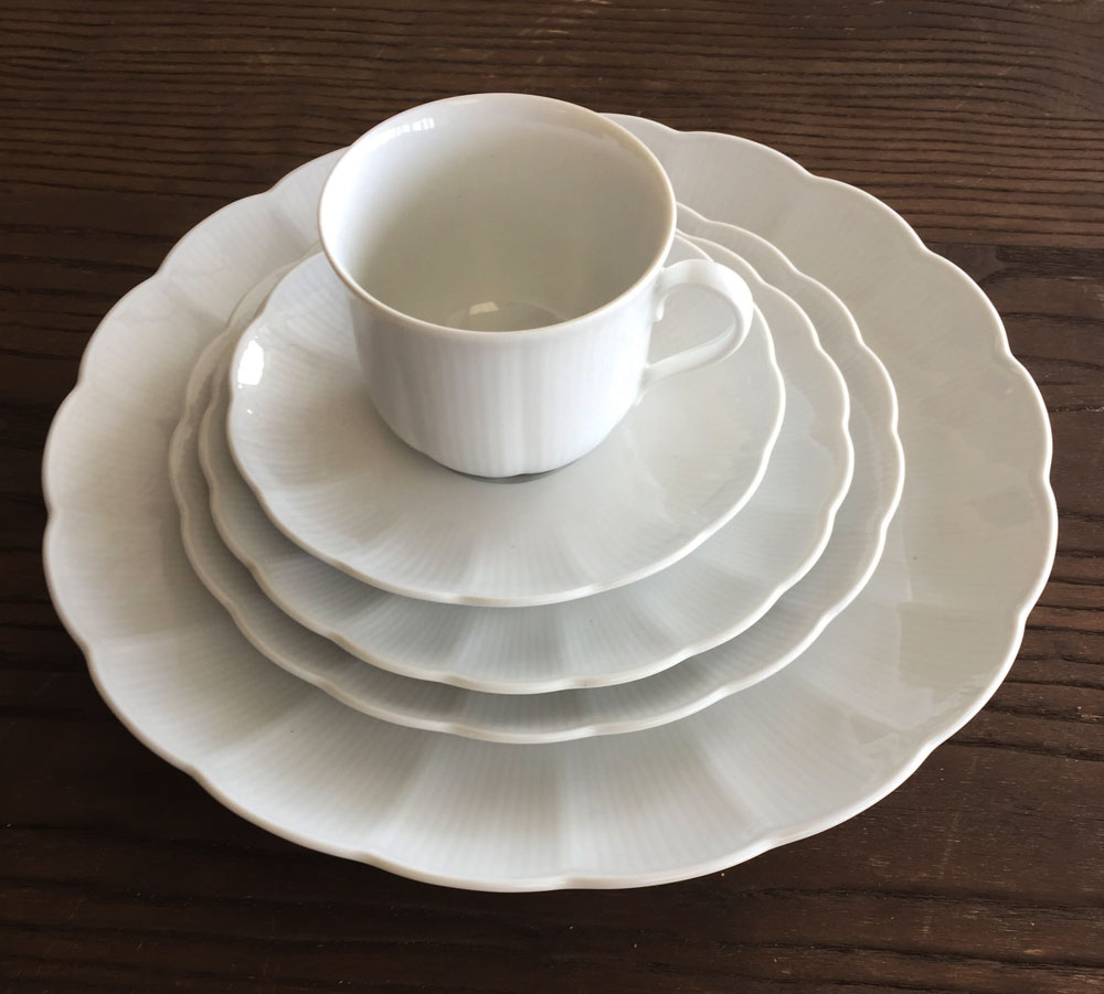 Scalloped White China