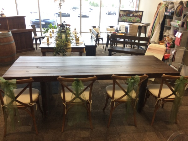 Walnut Farm Table Top. Rustic Furniture Rental   Nolan s Tent and Party Rental