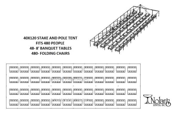 40 x 120 White Stake and Pole Tent Rental at Nolan's