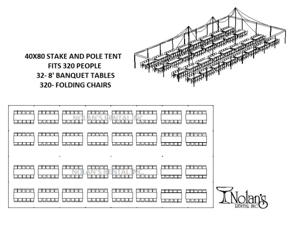 40 x 80 White Stake and Pole Tent Rental at Nolan's