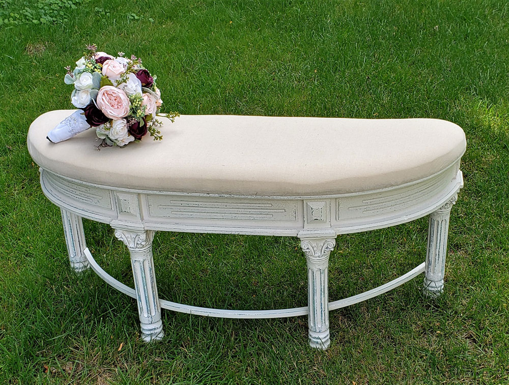 Curved Beige Bench Wedding Rental