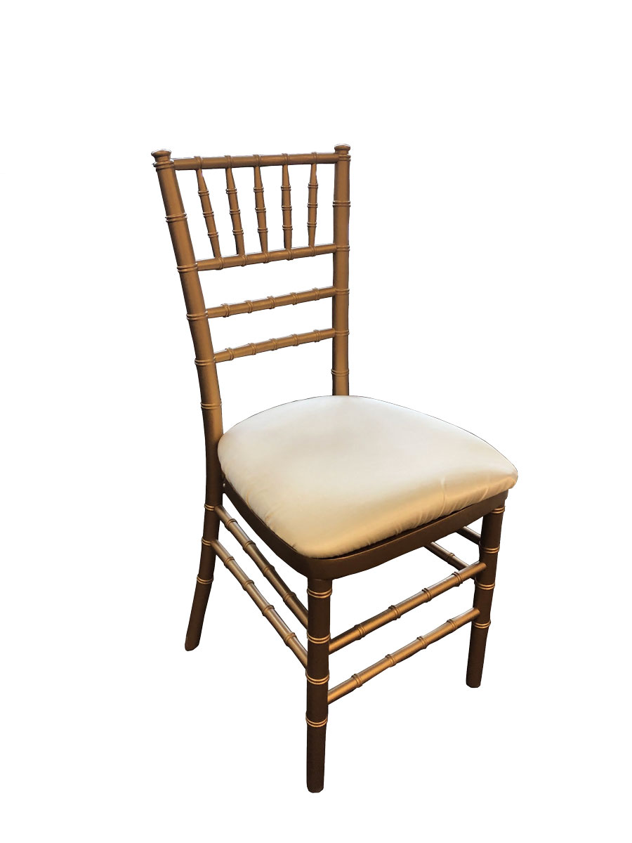 Gold Chiavari Chair w/ Solid Ivory Cushion Rental