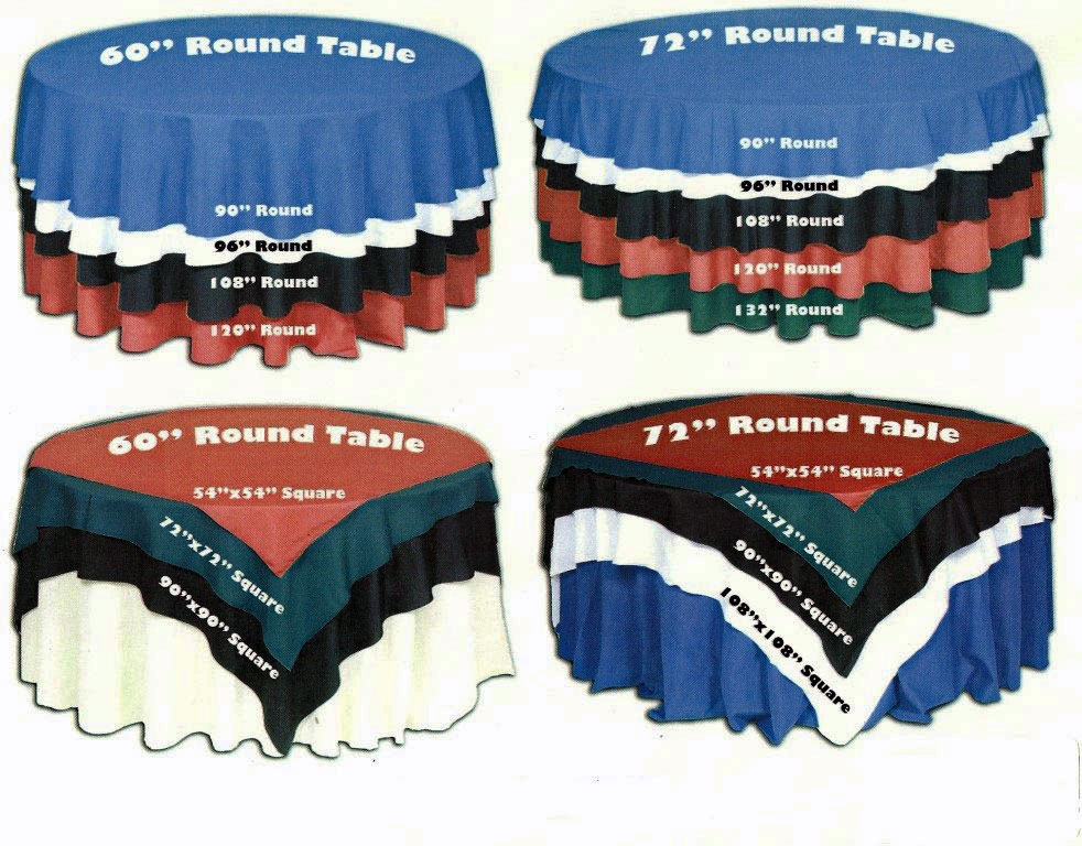 Round & Bistro Table Linen Charts Rental