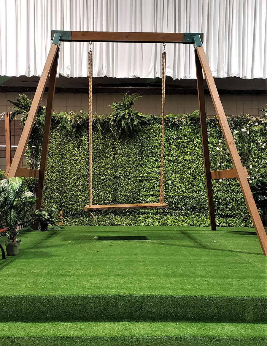 Single Wood Swing Set Wedding Rental