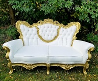 White & Gold Countess Sofa Wedding Rental