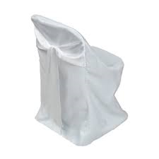 Polyester Folding Chair Cover with Attached White Satin Sash Rentals