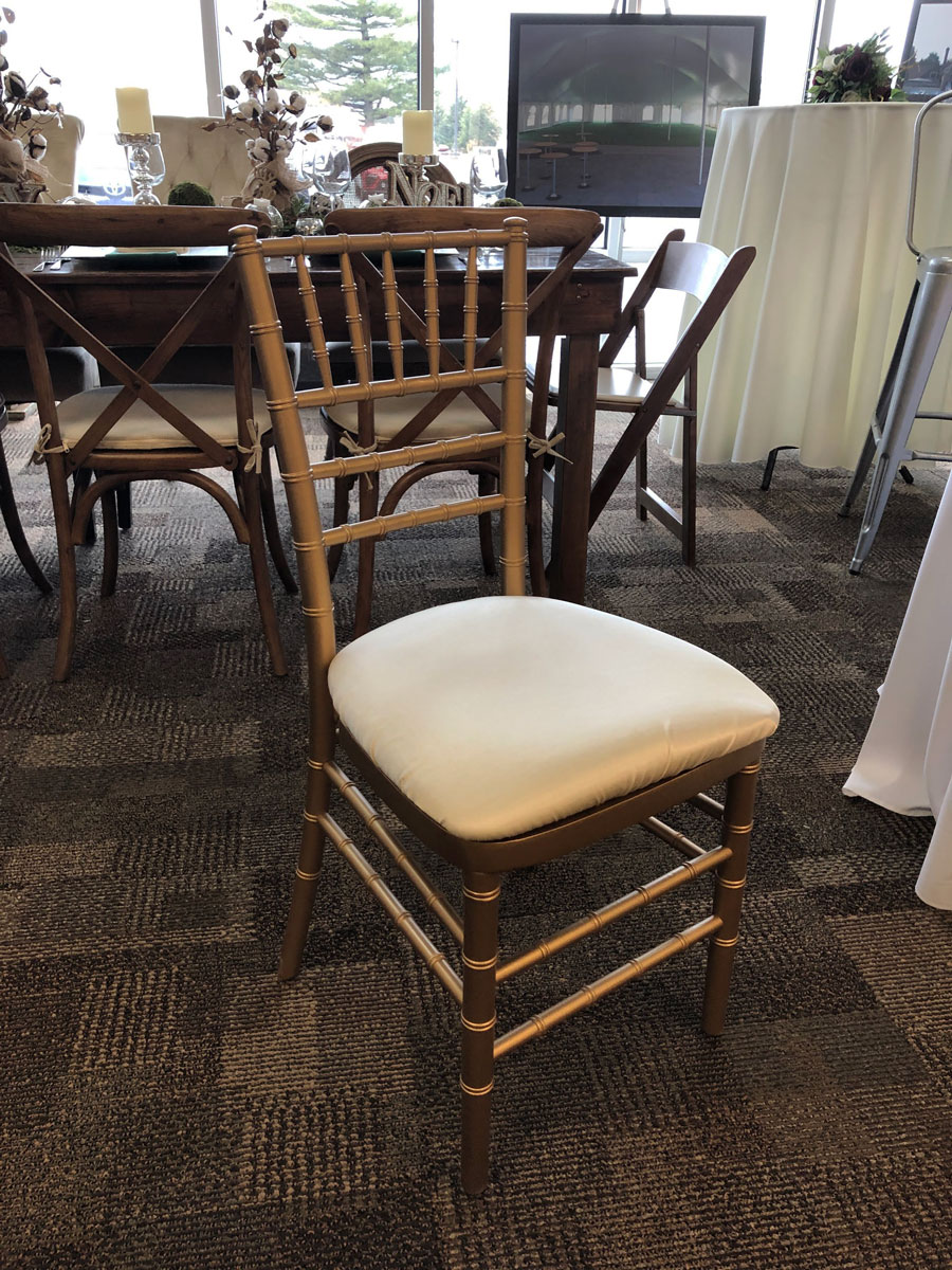 Rent Gold Chiavari Chair w/ Solid Ivory Cushion