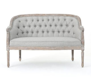 Light Gray Loveseat w/ Wood Trim Wedding Rental