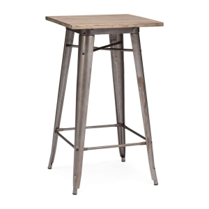 Rustic Wood and Steel Bar Table